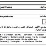 أحرف الجر في الانجليزية PDF english PREPOSITIONS